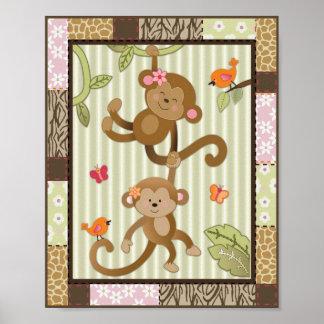 Jungle Jill Monkeys Baby Girl Nursery Art Poster