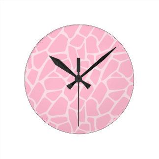 Jungle Jill Pink Giraffe Pattern Clock