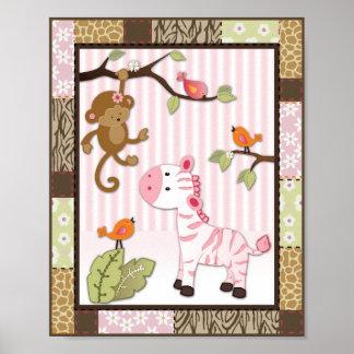 Jungle Jill Zebra Baby Girl Nursery Poster