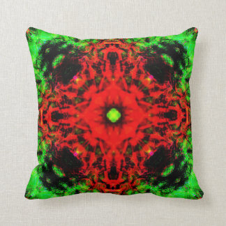 Jungle lava mandala throw pillow