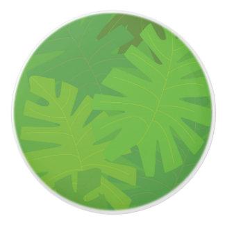 Jungle leaf motif ceramic knob
