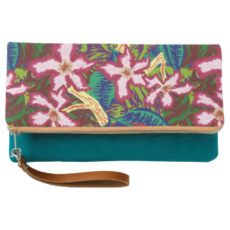 Jungle Leaves and Flowers Clutch