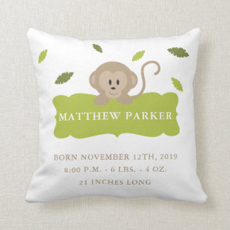 Jungle Monkey Birth Announcement Stats Pillow