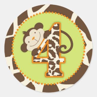 Jungle Monkey Fourth Birthday Cupcake Topper Orang Round Sticker