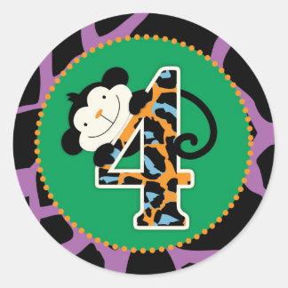 Jungle Monkey Fourth Birthday Cupcake Topper Wild Round Sticker