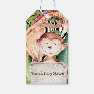 Jungle Monkey & Giraffe Animal Print Baby Shower Gift Tags