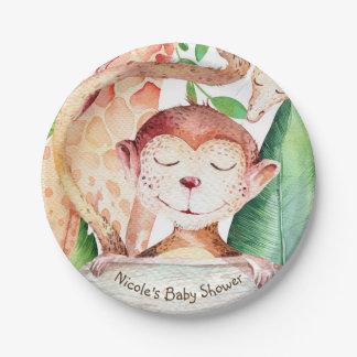 Jungle Monkey & Giraffe Baby Shower Party Custom 7 Inch Paper Plate