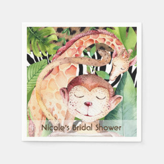 Jungle Monkey & Giraffe Baby Shower Party Custom Paper Napkin