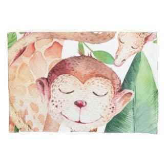 Jungle Monkey & Giraffe Nursery Bedroom Kids Pillowcase
