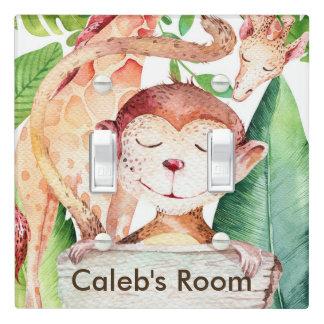 Jungle Monkey & Giraffe Nursery Room Kids Light Switch Cover