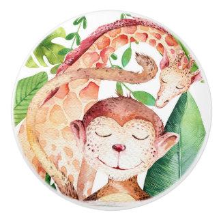 Jungle Monkey & Giraffe Safari Bedroom Nursery Ceramic Knob