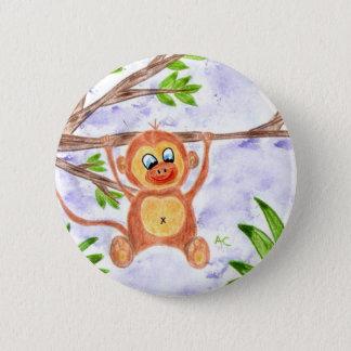 Jungle monkey round button