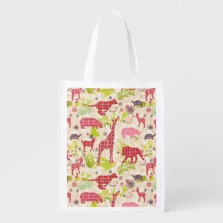 Jungle paradise reusable grocery bags