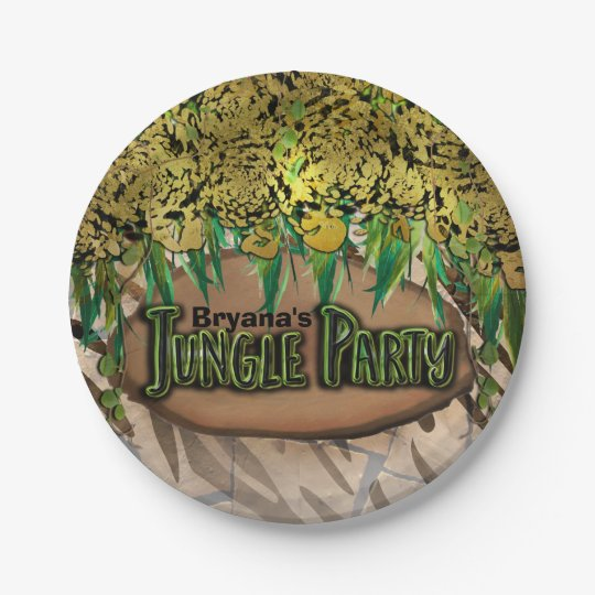 JUNGLE PARTY Gold Glam Animal Print Birthday 7 Inch Paper Plate