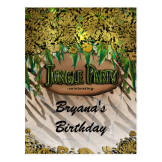 JUNGLE PARTY Gold Glam Animal Print Birthday Flyer Postcard