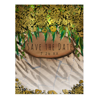 JUNGLE PARTY Gold Glam Animal Print Save the Date Postcard