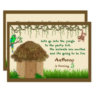 Jungle Party Hut Birthday Invitation