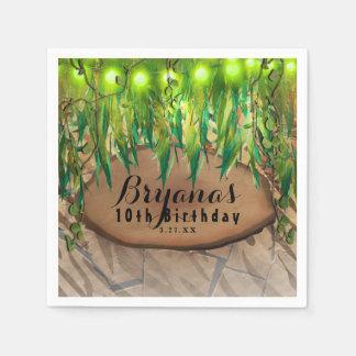 JUNGLE PARTY Leaves & Animal Print Custom Birthday Paper Napkin