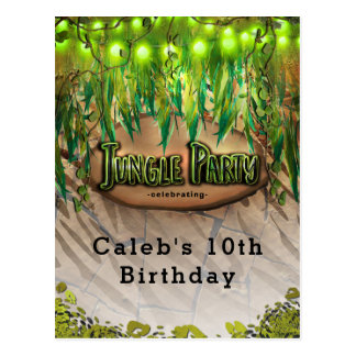 JUNGLE PARTY Leaves & Animal Print Event Flyer Postcard