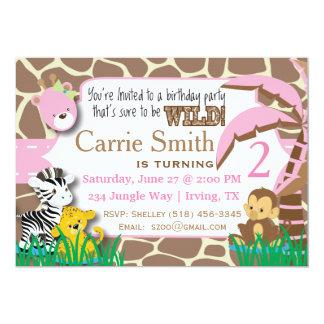 Jungle Pink Birthday Invitation