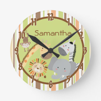 Jungle Play Safari Zoo Animal Personalized Clock