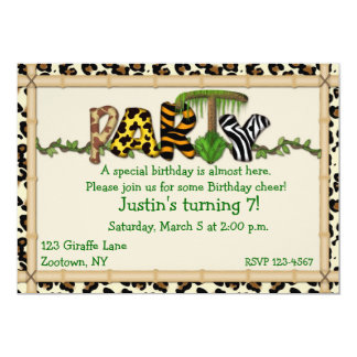 "Jungle Print Birthday Party 5"" X 7"" Invitation Card"