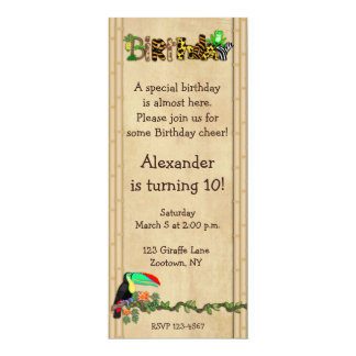 "Jungle Print Frog Birthday Party 4"" X 9.25"" Invitation Card"