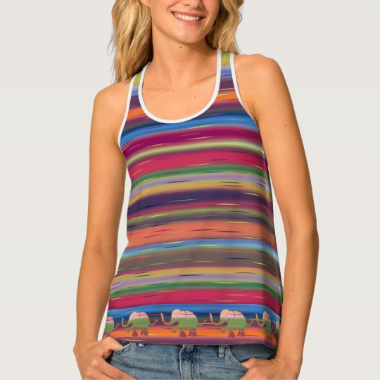 Jungle Rainbow Coloured Ringlets with Elephant Rim Tank Top