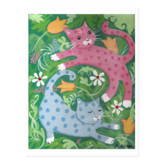 Jungle Romp - Folk Art Painting Postcard