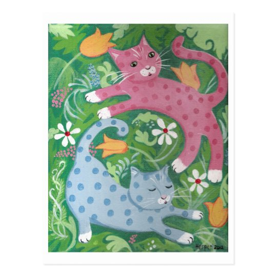 Jungle Romp - Folk Art Painting Postcard