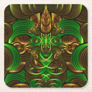 Jungle Roots Pattern Square Paper Coaster