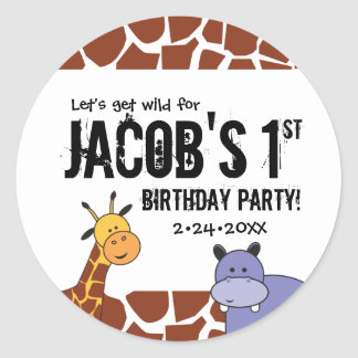 Jungle, Safari 1st Birthday, Personalized Classic Round Sticker