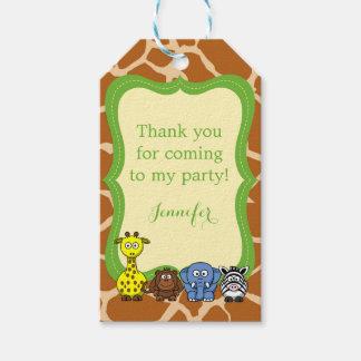 Jungle safari animal birthday baby shower thanks gift tags