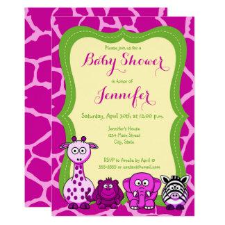 Jungle safari animal girl baby shower card