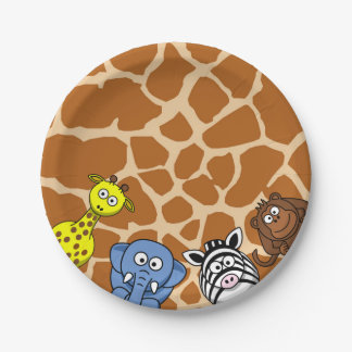 Jungle safari animal neutral baby shower birthday paper plate