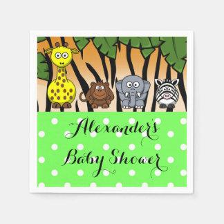 Jungle safari animal neutral baby shower paper napkin