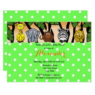 Jungle safari animal neutral gender baby shower card