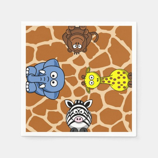 Jungle safari animal neutral gender baby shower paper napkins