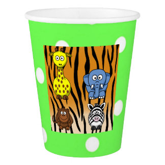 Jungle safari animal polka dot neutral baby shower paper cup