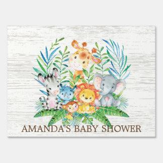 Jungle Safari Animals Baby Shower Yard Sign