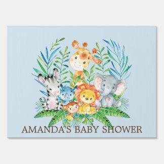 Jungle Safari Animals Boys Baby Shower Yard Sign