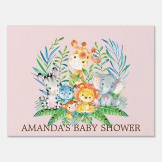 Jungle Safari Animals Girls Baby Shower Yard Sign