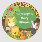 Jungle Safari Baby Animals Baby Shower Stickers