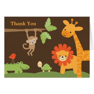 Jungle Safari Baby Shower Note Card