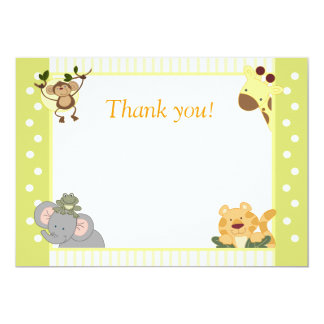 jungle safari baby shower thank you notes 5 x 7 invitation card