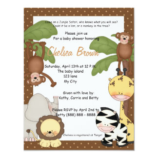 Jungle safari birthday baby shower invitation