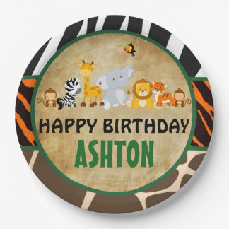 Jungle Safari Birthday Party Paper Plate 9 Inch Paper Plate