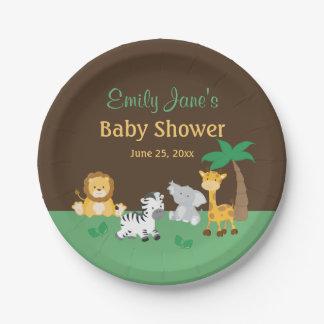 Jungle Safari Boy Baby Shower Paper Plate