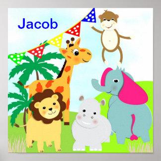 Jungle Safari Cute Animals Personalized Picture Poster