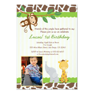 Jungle Safari Photo Birthday Invitation